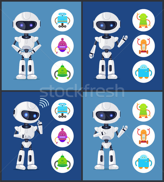 Robot Contemporary Style Set Vector Illustration Stock photo © robuart