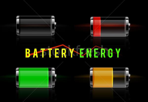 透明な バッテリー レベル インジケータ セット ストックフォト © robuart