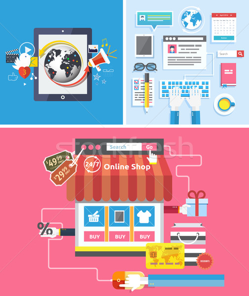 Zdjęcia stock: Online · sklep · social · media · seo · optymalizacja · zakupy · online