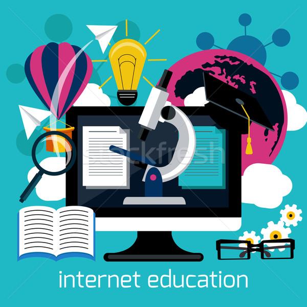 Távolság oktatás internet szolgáltatások ötlet terv Stock fotó © robuart