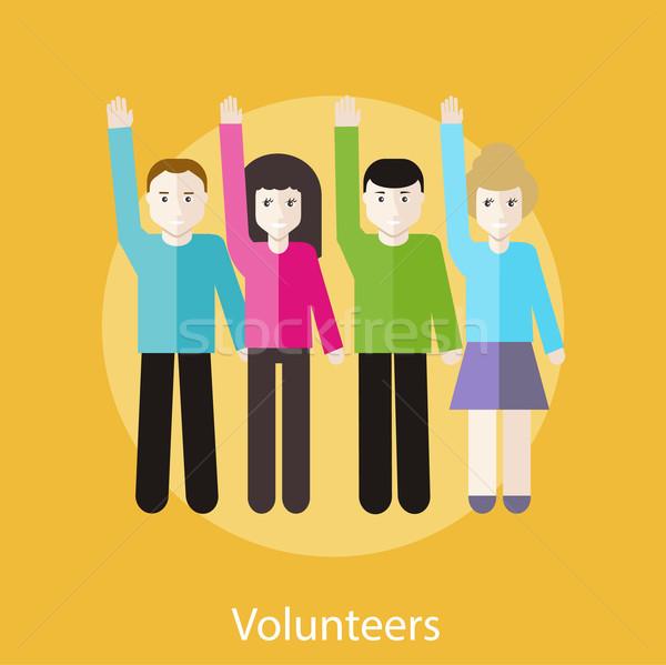 Volunteer Group Raising Hands Stock photo © robuart