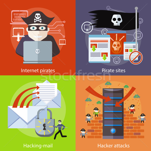 Hacker attaks, Internet Pirates and Pirate Sites Stock photo © robuart