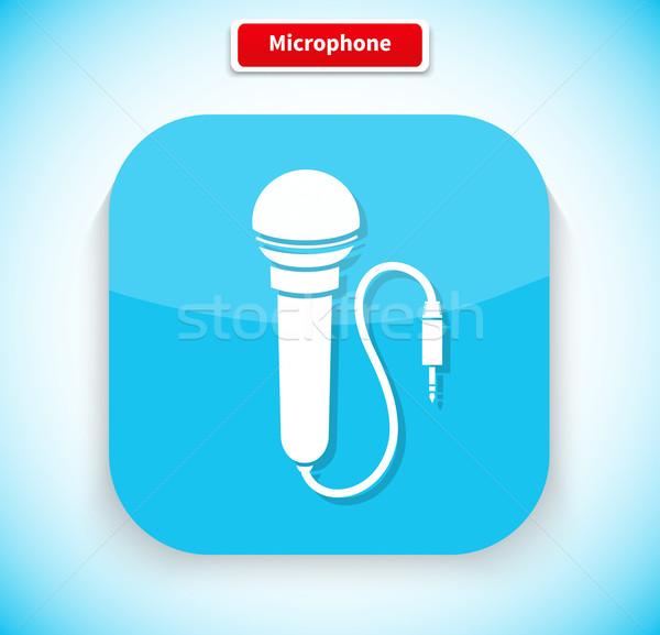 Сток-фото: микрофона · приложение · икона · стиль · дизайна · изолированный