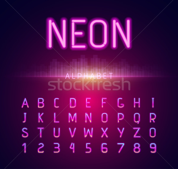 Neon Alphabet Font Style Flat Design Stock photo © robuart