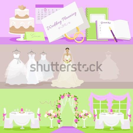 Trouwjurk ontwerp stijl bruid mode viering Stockfoto © robuart