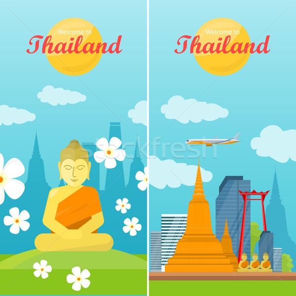 Thailand Travelling Banner. Thai Landmarks Stock photo © robuart