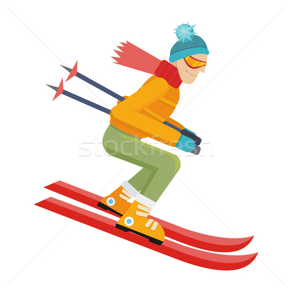 Skier Isolated on White. Person Skiing. Vector Stock photo © robuart