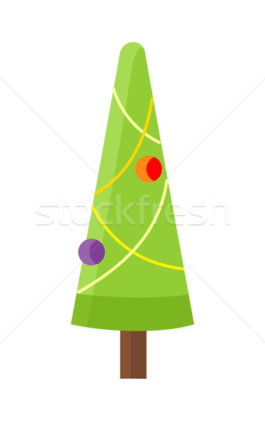 Christmas Tree Isolated on White. Cartoon Fir Stock photo © robuart