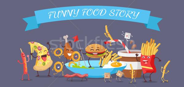 смешные продовольствие история баннер счастливым быстрого питания Сток-фото © robuart