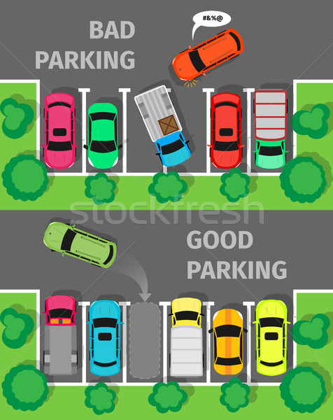 Bad and Good Parking Top View Stock photo © robuart