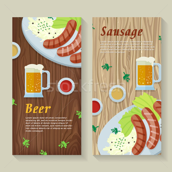 Sausage and Beer Web Banners in Flat Design Stock photo © robuart