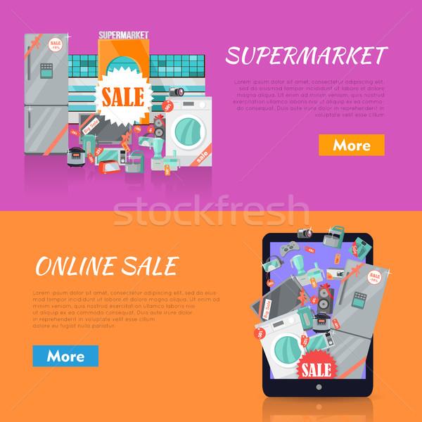 Zdjęcia stock: Sprzedaży · elektroniki · sklepu · wektora · internetowych · banery