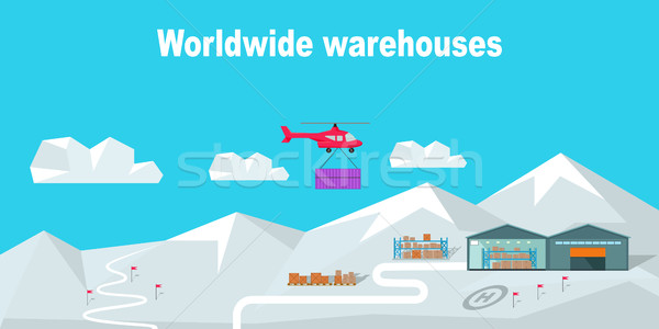 Worldwide Warehouse Delivering to the North Pole Stock photo © robuart