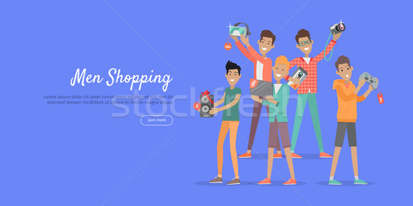 Man Shopping Conceptual Flat Vector Web Banner Stock photo © robuart