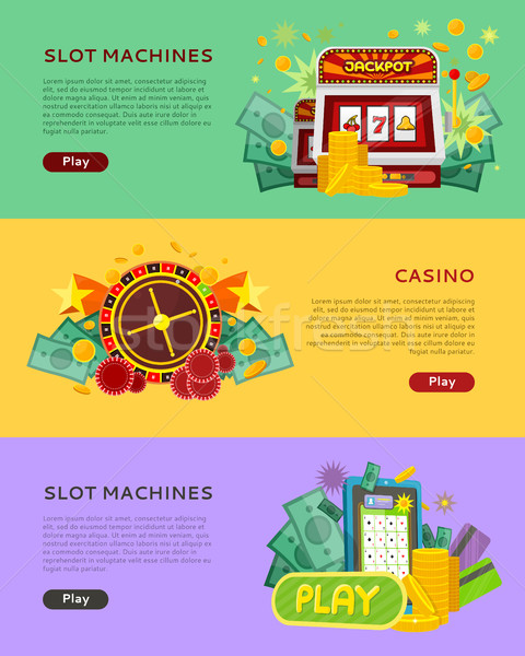 Slot Machines Casino Banners. Online Play Concept Stock photo © robuart