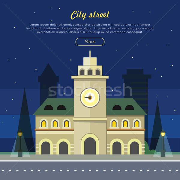 Városi város illusztráció éjszaka idő épület Stock fotó © robuart