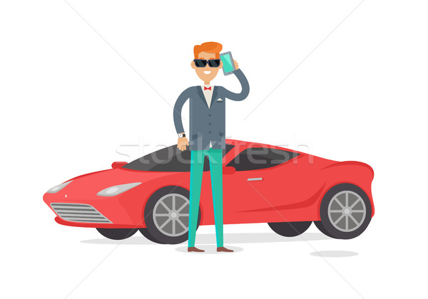 Rich Man in Expensive Suit Standing Near Coupe Car Stock photo © robuart
