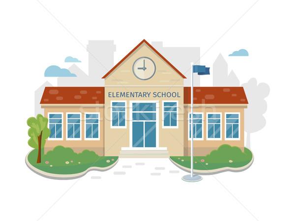 Best School Building Vector in Flat Style Design Stock photo © robuart
