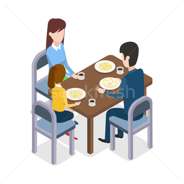 At Restaurant. Familly Sitting at Dining Table Stock photo © robuart