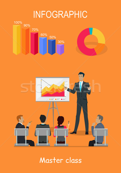 Infographic Master Class. Training Staff Brief Presentation Stock photo © robuart