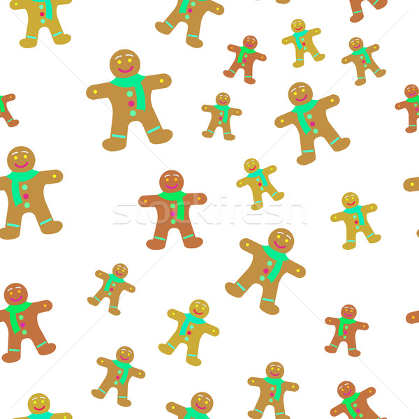 Gingerbread Man Decorated Icing Seamless Pattern. Stock photo © robuart
