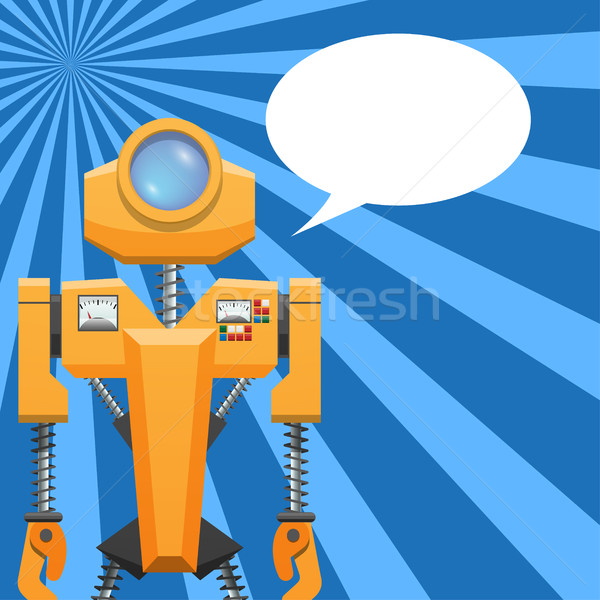 Orange Robot with Blank Text Cloud Illustration Stock photo © robuart