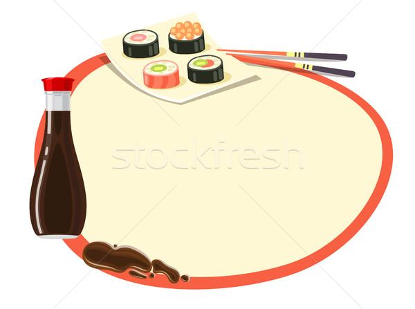 Cerchio rosso frame salsa di soia sushi bottiglia Foto d'archivio © robuart