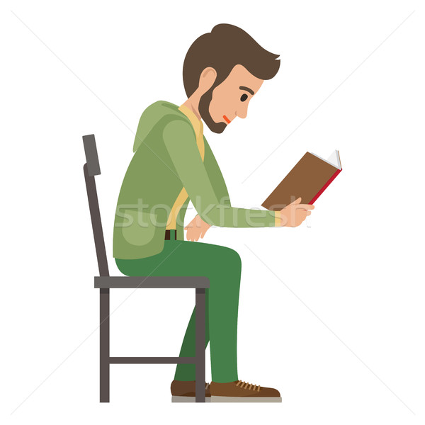 Boy Reads Book that Holds in one Hand on White Stock photo © robuart