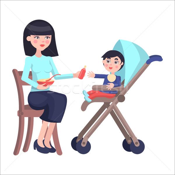 母親 赤ちゃん 少年 キャリッジ 小さな ストックフォト © robuart