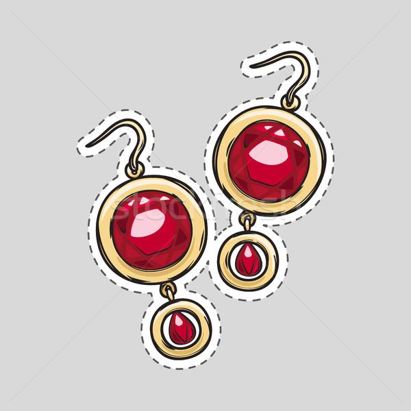 Rosso diamante brillante orecchini bella Foto d'archivio © robuart