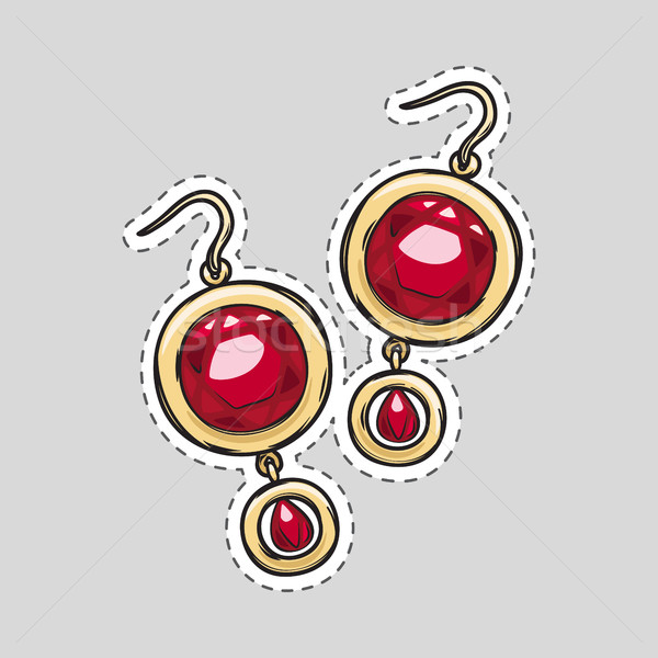 Rood diamant briljant oorbellen mooie Stockfoto © robuart
