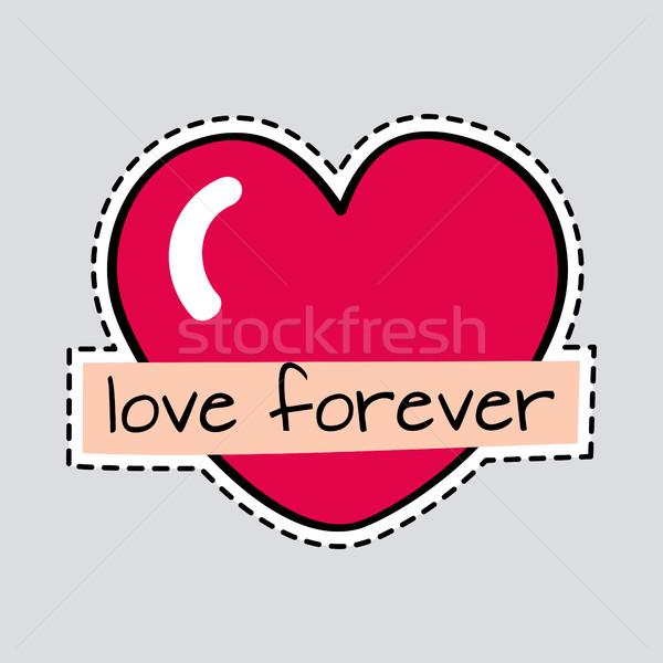 Sevmek sonsuza dek büyük kırmızı kalp kesmek Stok fotoğraf © robuart