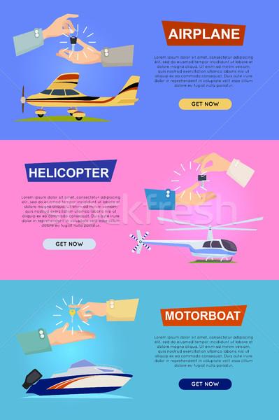 Repülőgép helikopter motorcsónak kezek kulcs bannerek Stock fotó © robuart