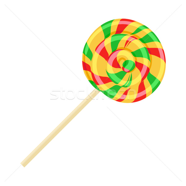 Caramel Striped Candy on Stick Isolated. Funny Sweet Stock photo © robuart