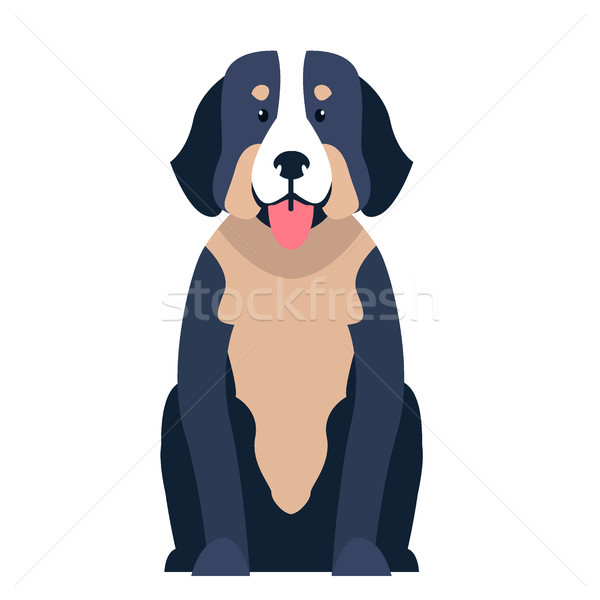 Cute St. Bernard dog cartoon flat vector icon Stock photo © robuart