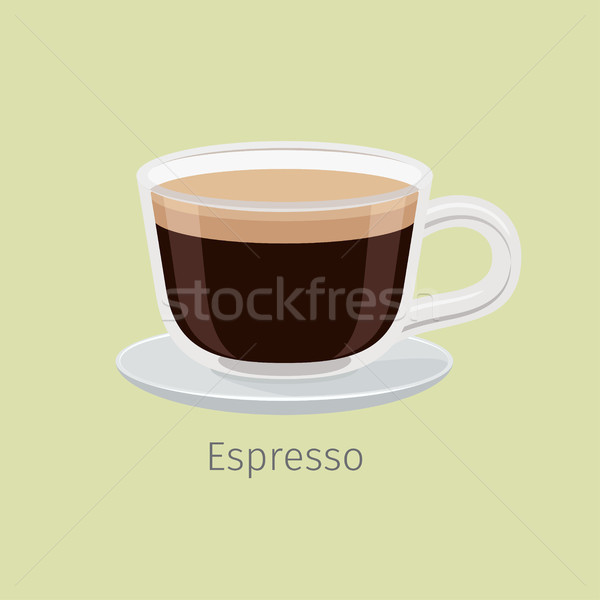 Glass Cup on Saucer with Espresso Flat Vector Stock photo © robuart