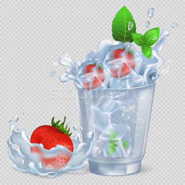 Photo stock: Congelés · fraise · menthe · verre · eau · fraises