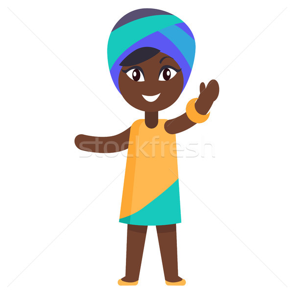 Happy Little Afro-American Girl in Yellow Dress Stock photo © robuart