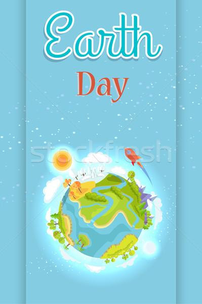 Dia da terra modelo colorido cartaz planeta terra dia Foto stock © robuart