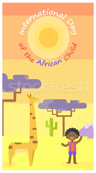 International African Child Day Cartoon Poster Stock photo © robuart