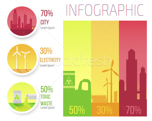 City Electricity Toxic Waste Infographic Poster Stock photo © robuart