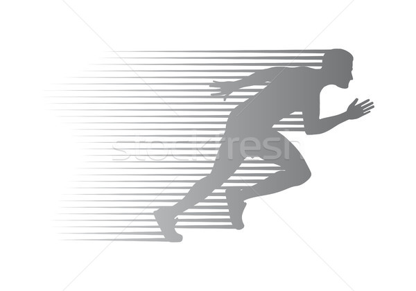 Silhouette of Jogger on Finish. Athletic Running Man Stock photo © robuart