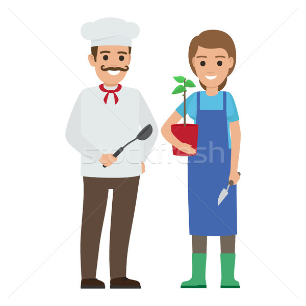 Chef Cook and Gardener. Two Smiling Persons Vector Stock photo © robuart