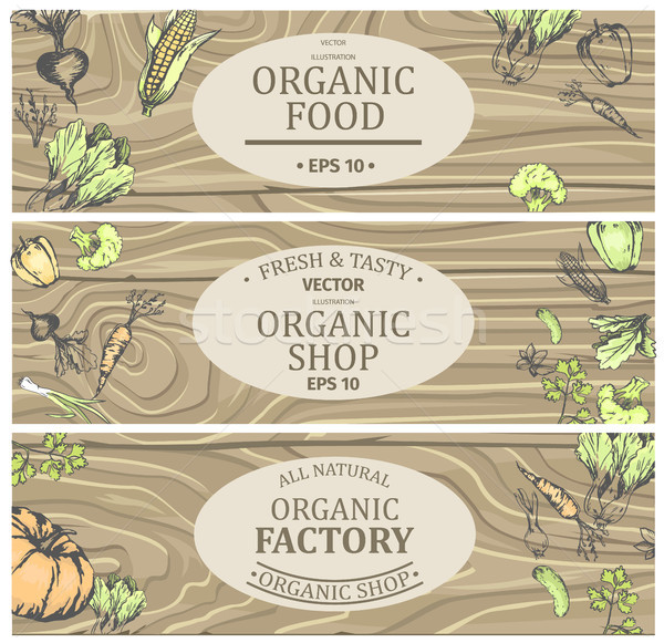 Organic Shop with Fresh Tasty Natural Food Posters Stock photo © robuart