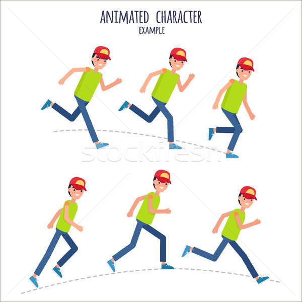 Animated Character Example with Boy in Motion Stock photo © robuart