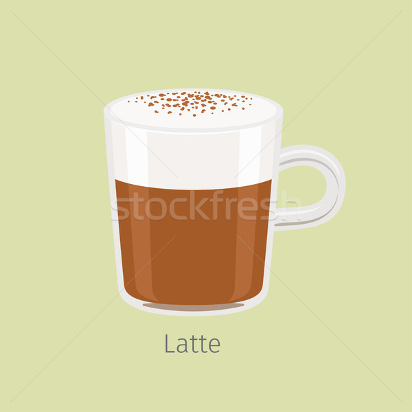 Glass Mug with Aromatic Latte Flat Vector Stock photo © robuart
