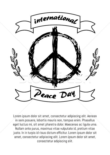 Internacional paz dia cartaz hippie assinar Foto stock © robuart