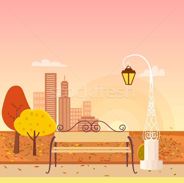 Autumn City Park Panorama Vector Illustration Stock photo © robuart