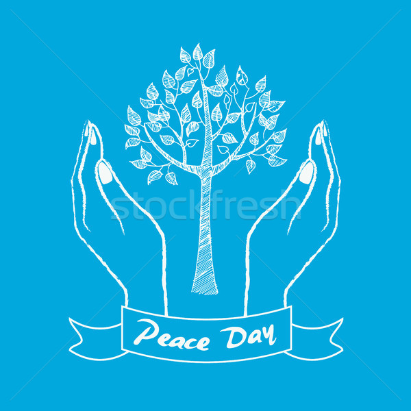 Peace Day Symbol with Hands Taking Care About Tree Stock photo © robuart