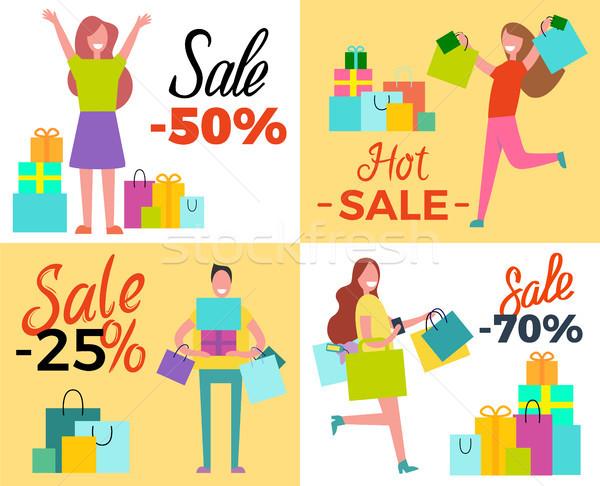 Hot Sale 50 Shopping Set Vector Illustration Stock photo © robuart
